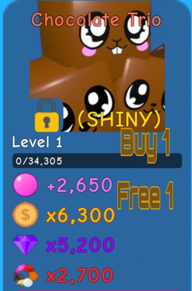 Shiny Chocolate Trio | Bubble Gum Simulator