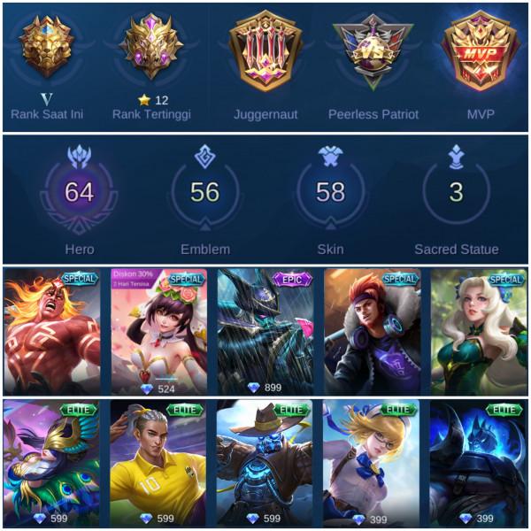Mobile Legend Epic/Sultan/Hero Banyak