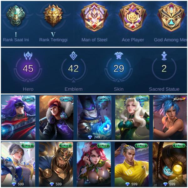 Mobile Legend Epic/Hero Banyak/ Skin Mantap