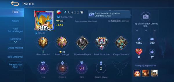 Akun GG Emblem Max Semua
