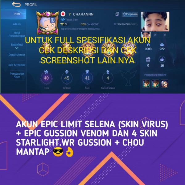 AKUN EPIC SELENA + EPIC GS SKIN&WR GG RANK MYTIC