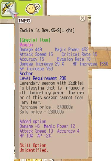 Zadkiel Bow XG+9 (Mpw 12, Hp 10%, Aspd 10, etc)