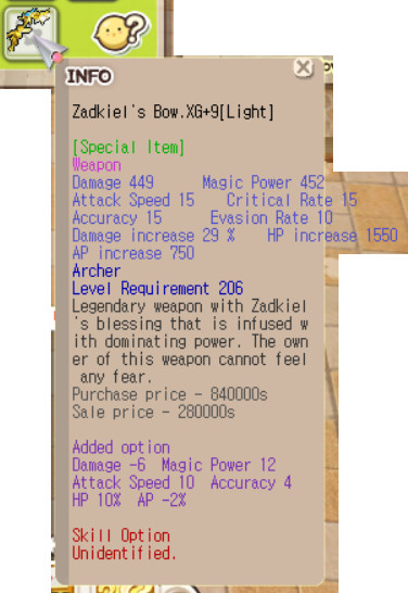 Zadkiel Archer XG+9 (Mpw 12, Hp 10%, Aspd 10 etc)