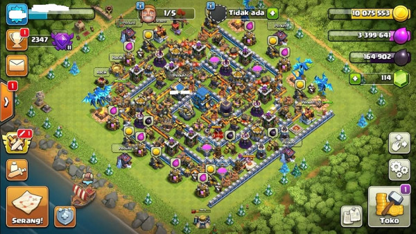 TOWN HALL 12 HAMPIR MAX WALL BIRU SIAP WAR